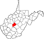 Map of West Virginia showing Clay County