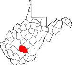 Map of West Virginia showing Fayette County