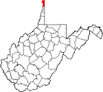 Map of West Virginia showing Hancock County