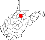 Map of West Virginia showing Harrison County