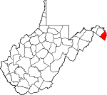 Map of West Virginia showing Jefferson County