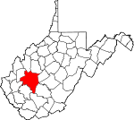 Map of West Virginia showing Kanawha County
