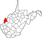 Map of West Virginia showing Mason County