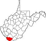Map of West Virginia showing McDowell County
