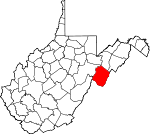 Map of West Virginia showing Pendleton County