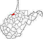 Map of West Virginia showing Pleasants County