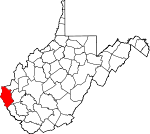 Map of West Virginia showing Wayne County