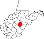 Map of West Virginia showing Webster County