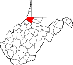 Map of West Virginia showing Wetzel County