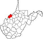 Map of West Virginia showing Wood County