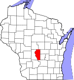 Map of Wisconsin showing Adams County