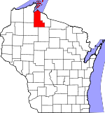 Map of Wisconsin showing Ashland County