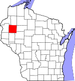 Map of Wisconsin showing Barron County