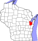Map of Wisconsin showing Brown County