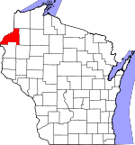 Map of Wisconsin showing Burnett County