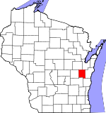 Map of Wisconsin showing Calumet County