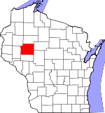 Map of Wisconsin showing Chippewa County
