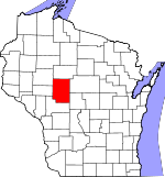 Map of Wisconsin showing Clark County