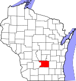 Map of Wisconsin showing Columbia County