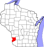 Map of Wisconsin showing Crawford County