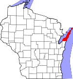 Map of Wisconsin showing Door County