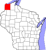 Map of Wisconsin showing Douglas County