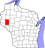 Map of Wisconsin showing Dunn County