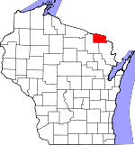Map of Wisconsin showing Florence County