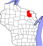 Map of Wisconsin showing Forest County