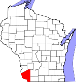Map of Wisconsin showing Grant County