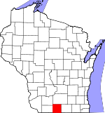 Map of Wisconsin showing Green County