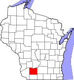 Map of Wisconsin showing Iowa County