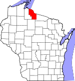 Map of Wisconsin showing Iron County