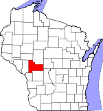 Map of Wisconsin showing Jackson County