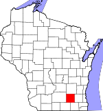 Map of Wisconsin showing Jefferson County