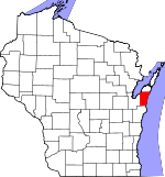 Map of Wisconsin showing Kewaunee County