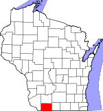 Map of Wisconsin showing Lafayette County