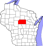Map of Wisconsin showing Marathon County