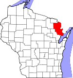 Map of Wisconsin showing Marinette County