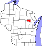 Map of Wisconsin showing Menominee County