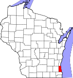 Map of Wisconsin showing Milwaukee County