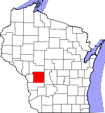 Map of Wisconsin showing Monroe County