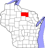 Map of Wisconsin showing Oneida County