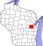 Map of Wisconsin showing Outagamie County