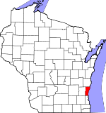 Map of Wisconsin showing Ozaukee County