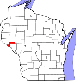 Map of Wisconsin showing Pepin County