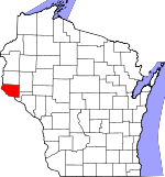 Map of Wisconsin showing Pierce County