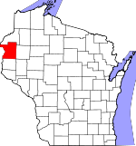 Map of Wisconsin showing Polk County