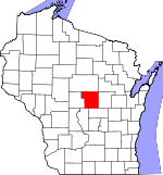 Map of Wisconsin showing Portage County