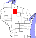 Map of Wisconsin showing Price County
